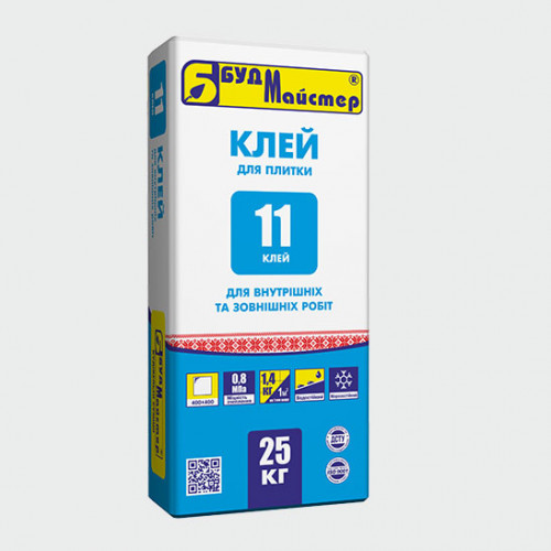 КЛЕЙ-11/ клейова суміш цементна (25 кг)(48 шт.п)