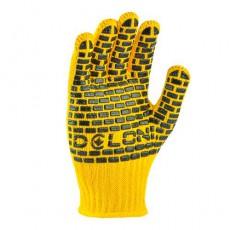 """4078 Перчатки """"Строитель"""" с ПВХ рис.желтые 7 класс 10 разм.(уп-10шт)(ящ-200шт)"""